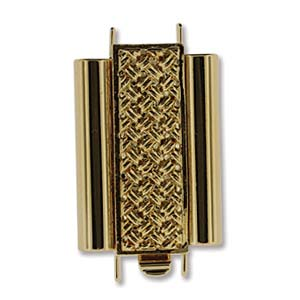 Beadslide Cross Hatch 10X18mm Goldplate