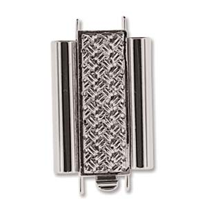 Beadslide Cross Hatch 10X18mm Rhodium
