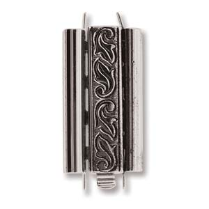 Beadslide Swirl 10X24mm Antique Silver