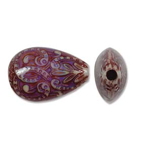 Mirage Bead Fancy Flame 15x23mm ID: 3.5mm - Qty-10 Bds