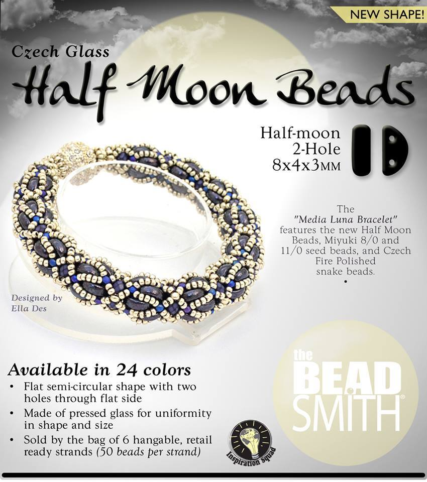 Half Moon 2H Czech Bead