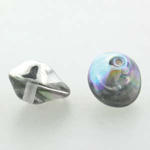 UFO 7x11mm ID=1.1mm Crystal Silver Rainbow Qty: 20