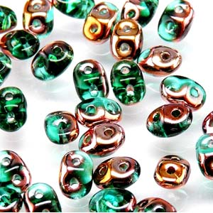 MiniDUO 2x4mm Emerald Capri Gold 8gm