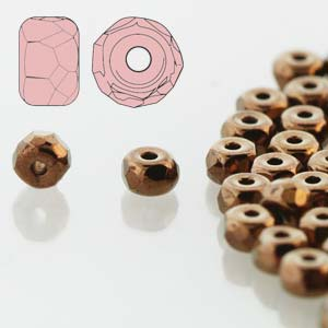 Faceted Micro Spacer 2x3mm Jet Dk Bronze 600pc