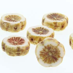 Hawaiian Flower 12mm White Travertine 12 Pcs