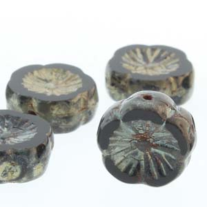 Hawaiian Flower 12mm Black Picasso 12 Pcs