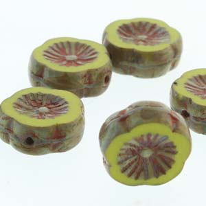 Hawaiian Flower 12mm Green Opq Travertine 12 Pcs