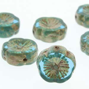 Hawaiian Flower 12mm Aqua Picasso 12 Pcs