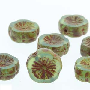 Hawaiian Flower 12mm Green Opal Travertine 12 Pcs