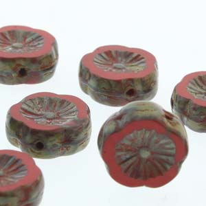 Hawaiian Flower 12mm Red Travertine 12 Pcs