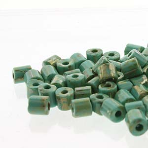 5x5mm Turquoise Green Picasso Tube