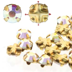 Rose Montees 3.5mm Crystal A B in Gold