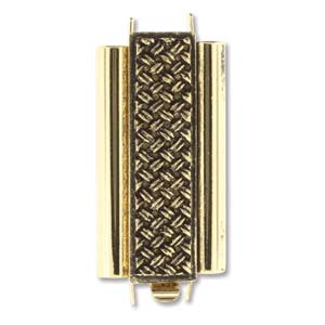 Beadslide Cross Hatch 10X24mm Antique Gold