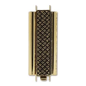 Beadslide Cross Hatch 10X29mm Antique Gold