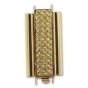 Beadslide Cross Hatch 10X24mm Goldplate