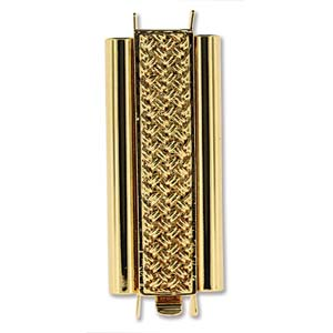 Beadslide Cross Hatch 10X29mm Goldplate