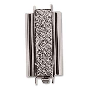 Beadslide Cross Hatch 10X24mm Rhodium