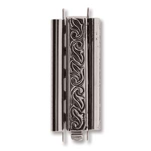 Beadslide Swirl 10X29mm Antique Silver - OUT