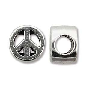 Antique Silver 10mm Slider Peace - 4 pcs