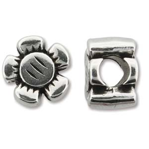 Antique Silver 12x8mm Slider Flower - 4 pcs