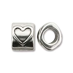 Antique Silver 10x8mm Slider Heart - 4 pcs