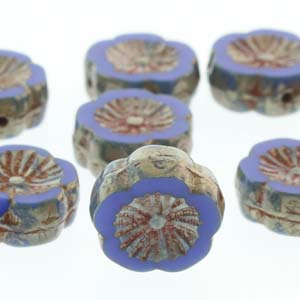 Hawaiian Flower 12mm Royal Picasso 12 Pcs